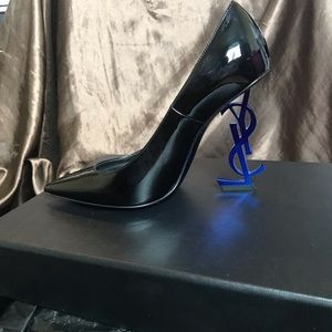 Saint Laurent Shoes - YSL Opyum Patent Leather Heels Black and Blue